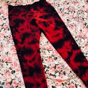 631c5bf166ca2 Blackheart Pants   Hot Topic Red Black Tie Dye Leggings 0x Xl   Poshmark